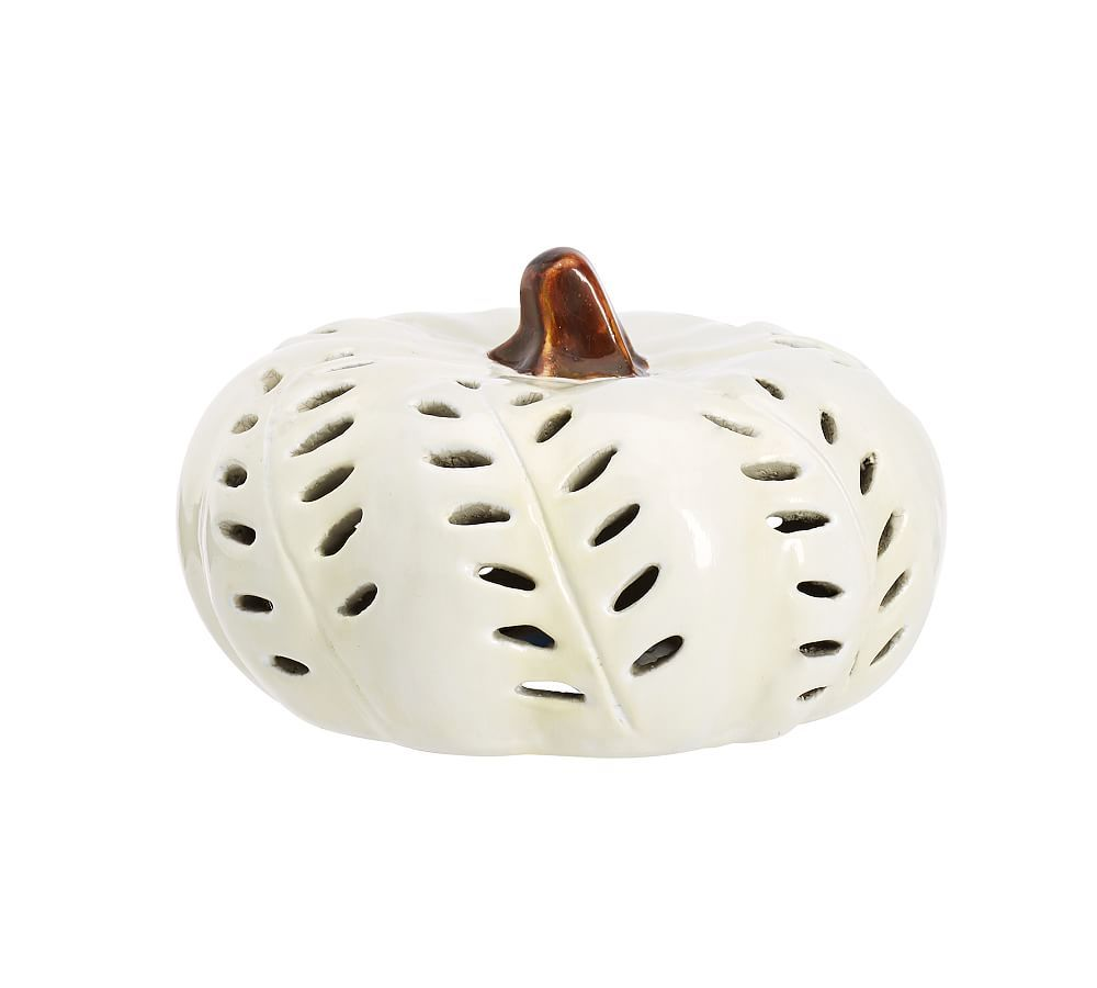 4 2 X 3 1 Ceramic Pumpkin Figurine White Smith Hawken