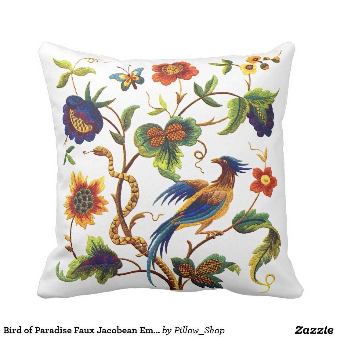 Bird of Paradise Faux Jacobean Embroidery Throw Pillow | Crewel ...