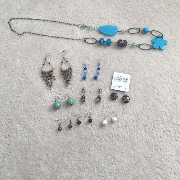 Lot of earrings and a necklace 8 pairs of earrings and a necklace. Only the top  2 sets of earrings have been worn, approximately 3-4 times. All others have not been worn. If you want a custom jewelry listing with any of my items please just let me know and I will make you one! Jewelry Earrings