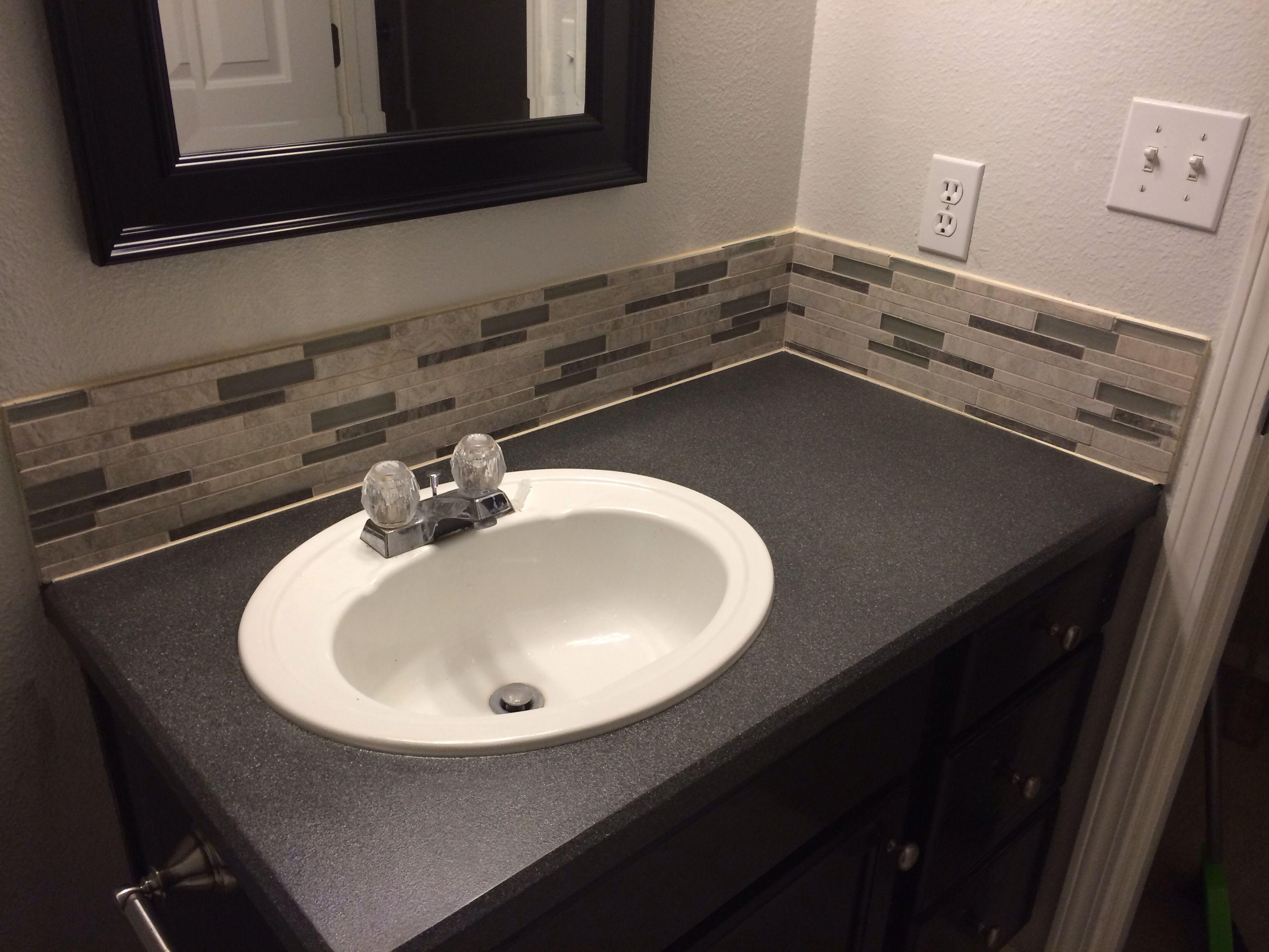Diy Textured Spray Paint Countertop And Mosaic Backsplash Using A Special Adhesive Mat Instead Bathroom Countertops Diy Backsplash Designs Metallic Backsplash