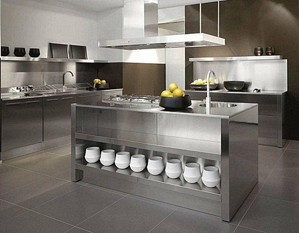 Kücheninsel Edelstahl ~ Industrielle küche einrichten edelstahl kücheninsel dekoideen