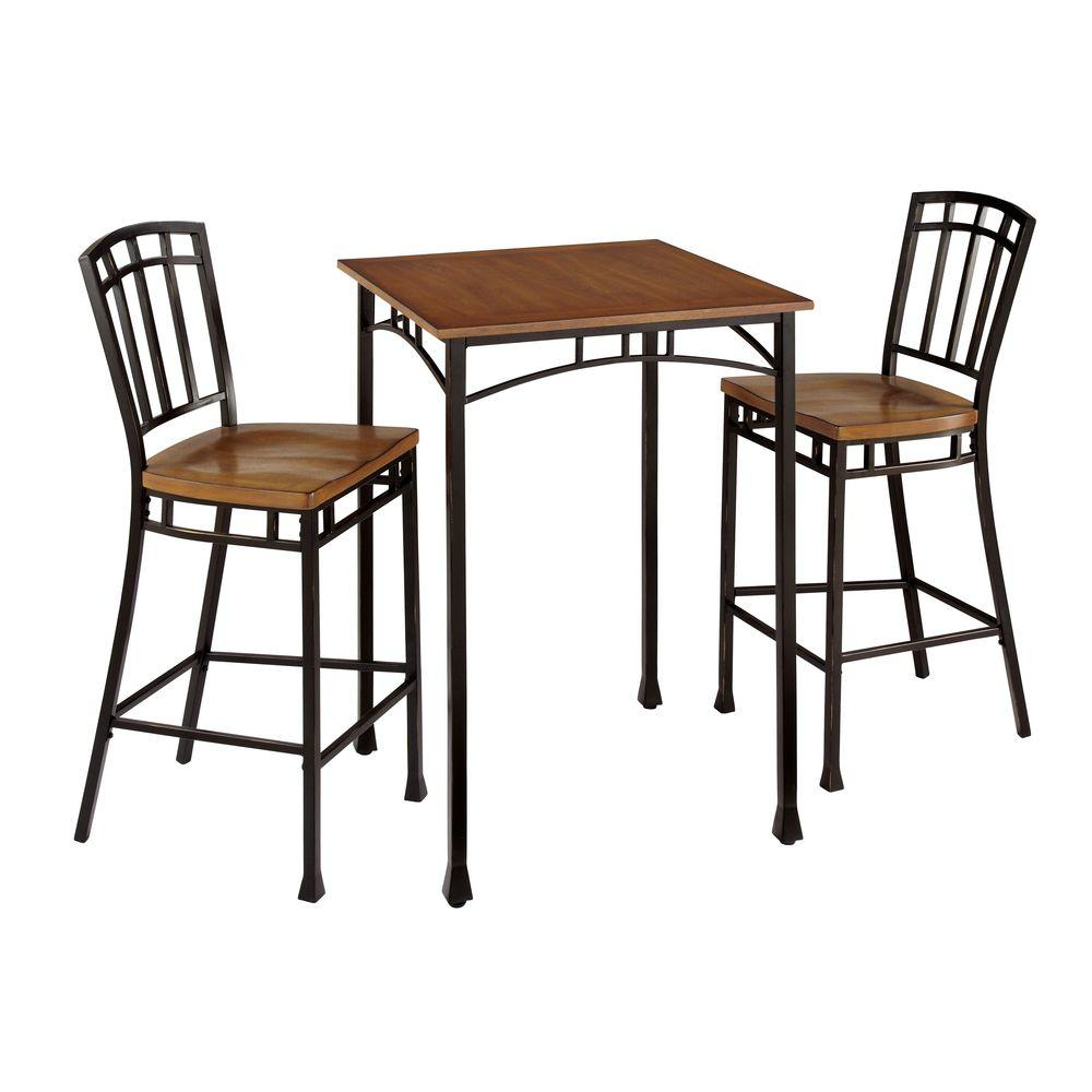 Home Styles Modern Craftsman Wood And Metal Bistro Table And Stool