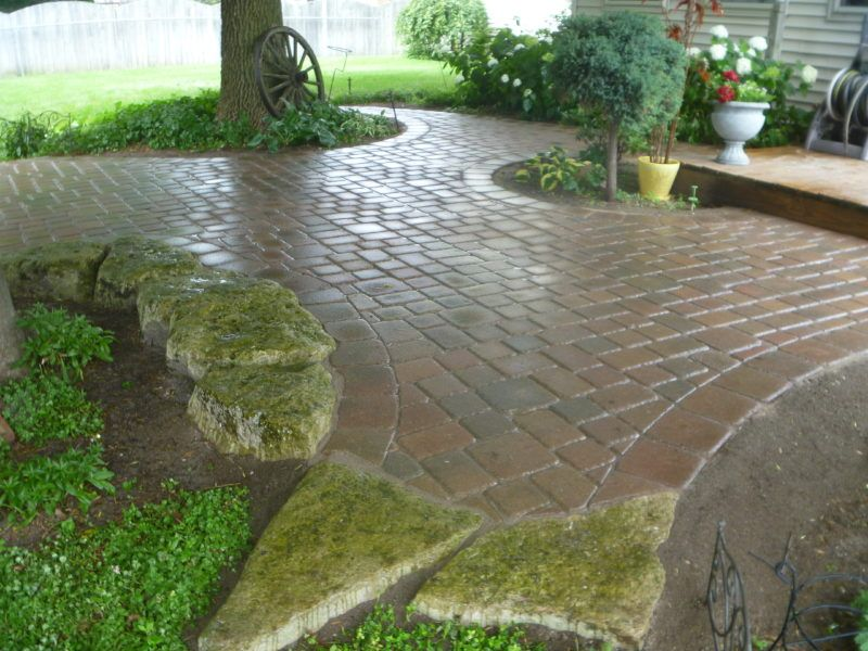 Brick Walkway Patio Accented With Natural Rockery Hardscape Patio Accents Patio