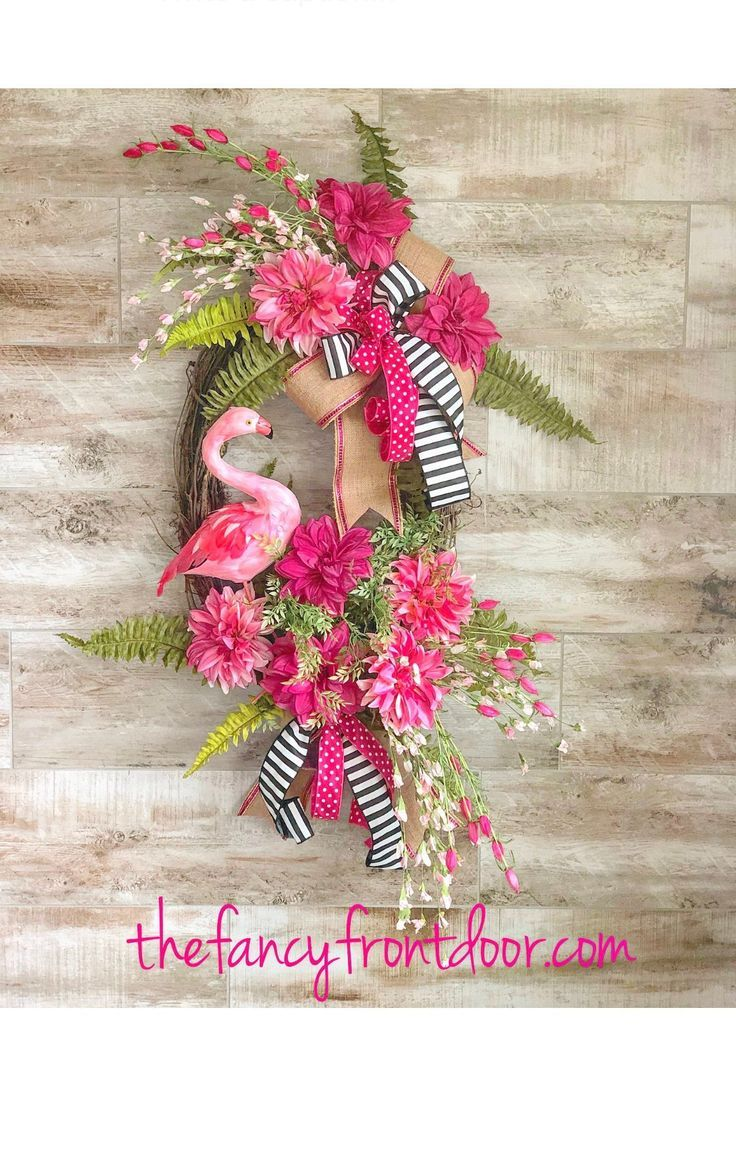 Photo of Summer wreath, year-round wreath, summer decor, summer door wreath, flamingo wreath, wreath with flowers, floral wine wreath, host gift