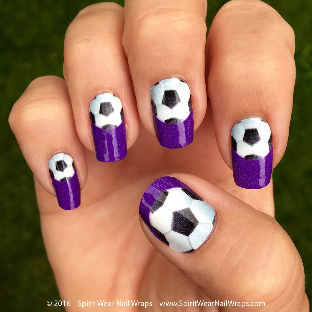 Soccer Nail Wraps | Single Soccer Ball over a Purple Background