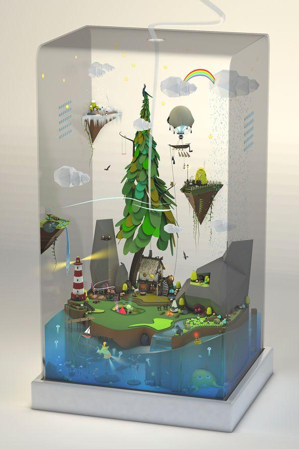 World Tank by Paohan Chen, via Behance hacer lámparas con esta idea para la agencia. : )