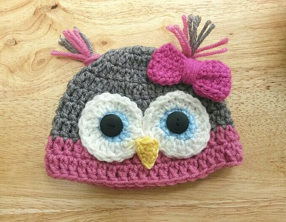 Hand Crocheted Baby Owl Hat / 03 months / by hellothereknitty, $22.00
