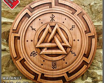 Bear Svastica Fylfot Cross Swastica Pagan Symbol Viking Home Decor Norse Wood Picture Custom Carving Asatru Celtic Animal Wall Hanging