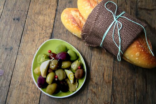 Salty olives, garlic&oil, and crusty bread? Yes.
