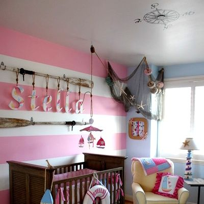 nautical girls bedroom--pink and blue, dd's colours of choice