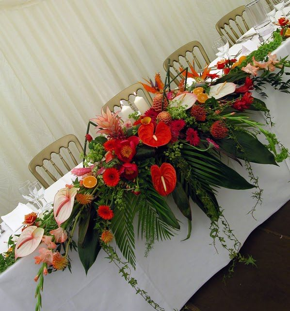 huge tropical flower arrangements wedding - Google Search | wedding ...