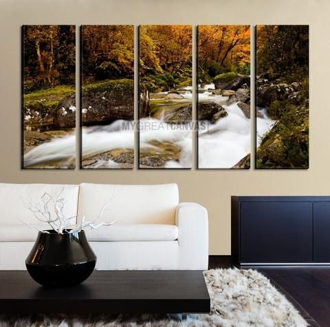 Large Wall Art Waterfall Canvas Print - River in Forest in Autumn ...