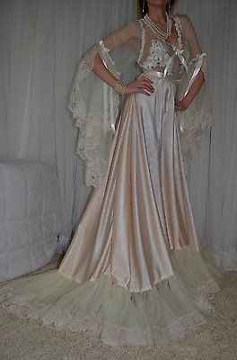 4dc2d89715 VTG Lingerie Soft Nylon Lace Bra Area Negligee Slip LONG Sweep Nightgown 2X  XXL