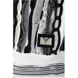 Photo of Striking, colorful knitted hoody with hood, white and black Carlo ColucciCarlo Colucci