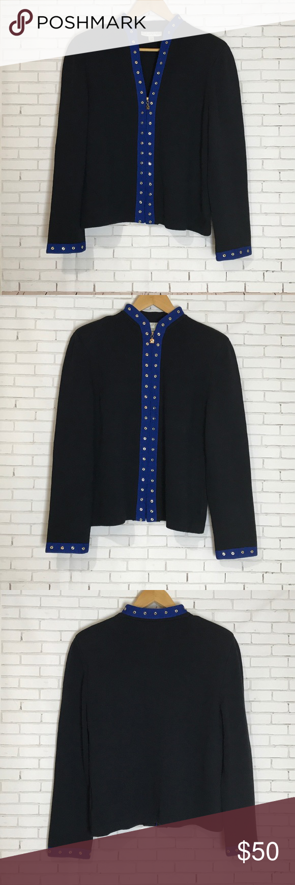 ST. Collection Black & Blue Cardigan Size 12 | Gold cardigan, Size ...