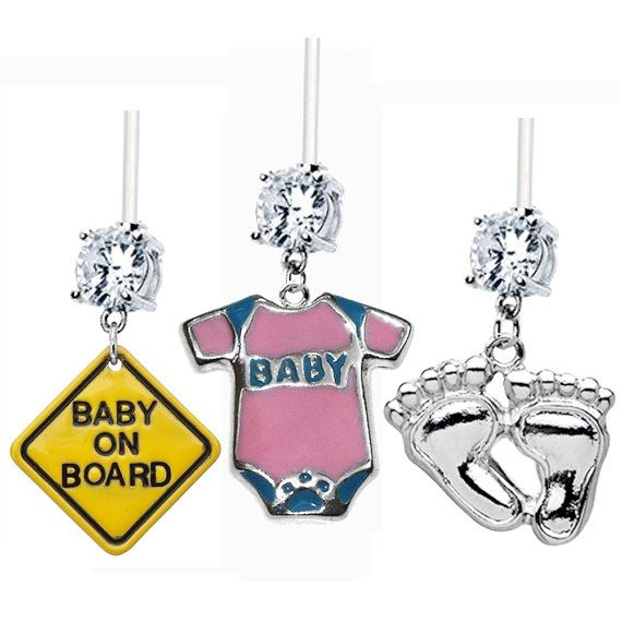 3 Pack Baby On Board Pink Onesie Foot Prints Clear Gem Flexible
