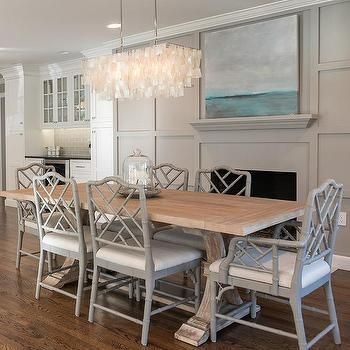 Salvaged Wood Trestle Dining Table With Gray Bamboo Chairs