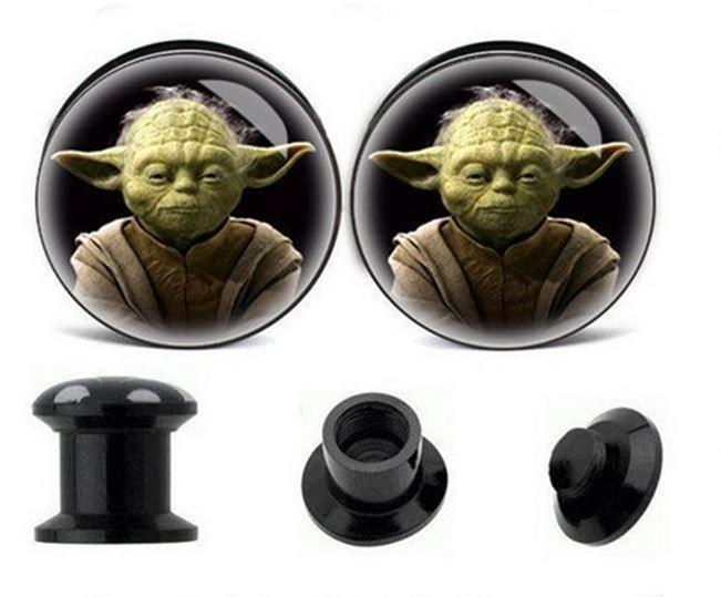 Pair Star Wars Yoda Ear Plugs Flesh Tunnel Tunnels Stretcher