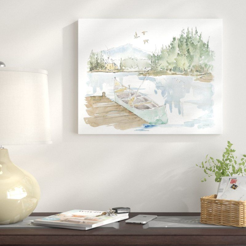 Lake House I On White Print On Canvas Modern Lake House Lake House Farmhouse Art