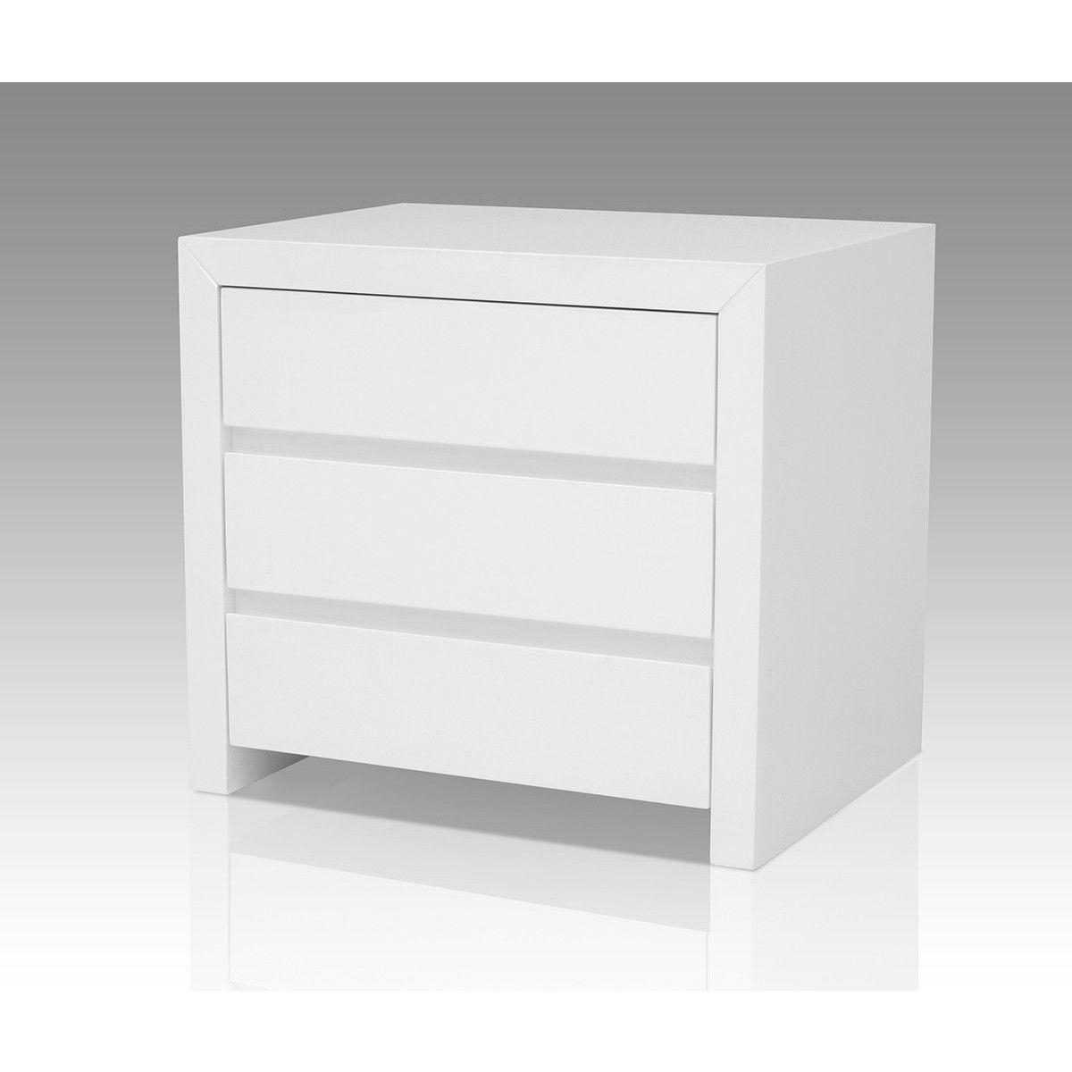 Modrest Bonita Modern White High Gloss 2 Drawer Nightstand Furniture Modern Nightstand White Bedroom Furniture