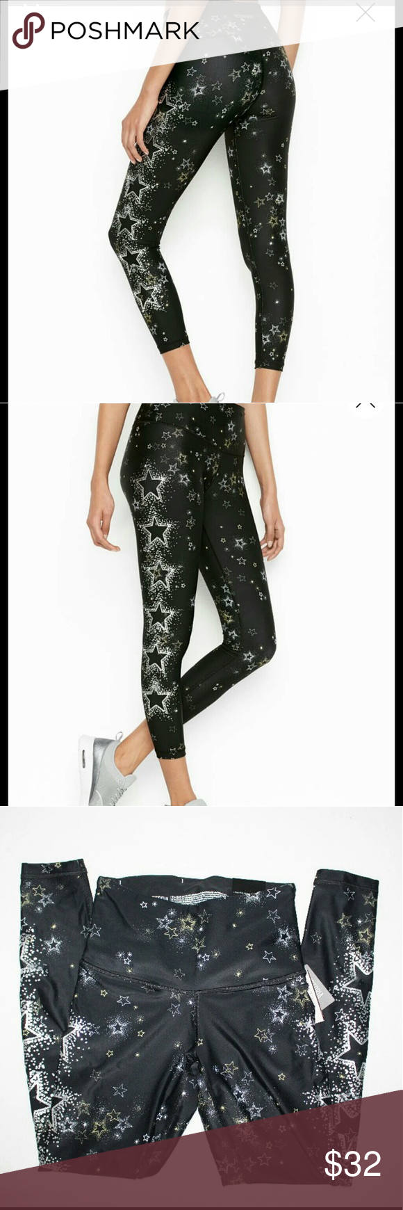 df6688ed05b452 New Victoria's Secret Sports Stardust Leggings XS Victoria's Secret Sport  NEW! 7/8 Printed Tight Color : Stardust (Silver and Gold stars on black)  Size : XS ...
