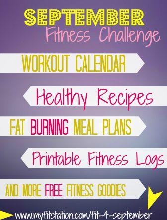 September Fitness Challenge  Free Workout Calendar ! Grab your