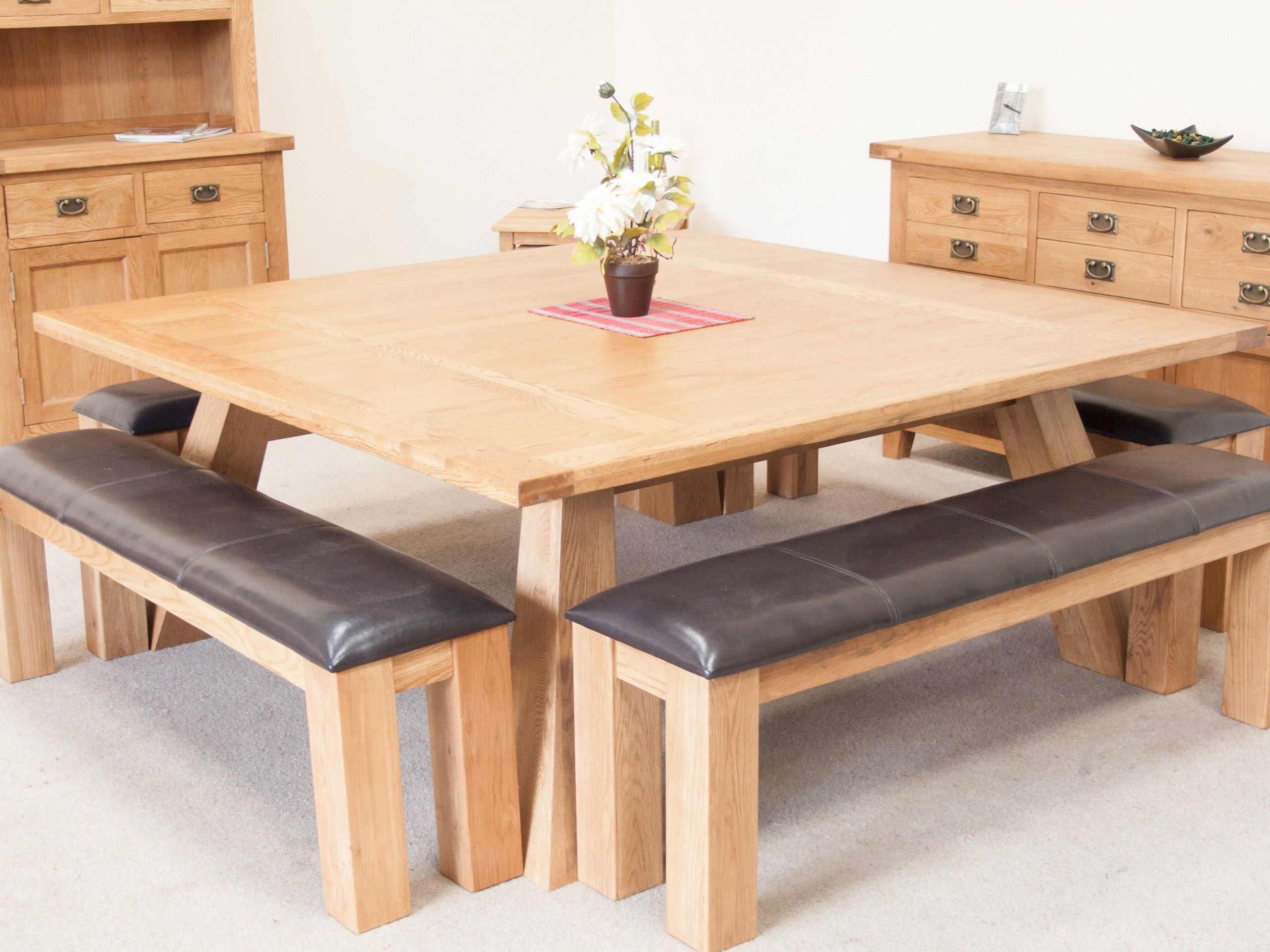 Country Oak 1.8m Large Square Oak Dining Room Table Oak