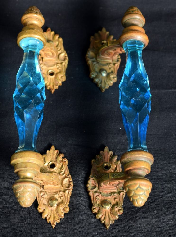 Pair Of Vintage Brass Rare Victorian Cut Blue Glass Door Handle