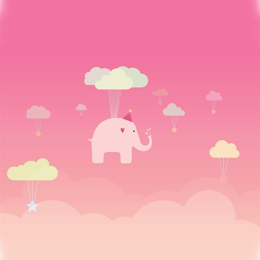 Cute Elephant IllustrationArt Orange Fly iPad Air Wallpapers