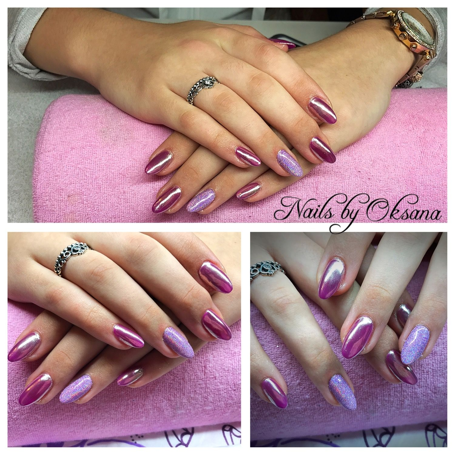 Gel nails extensions on forms plus Gelish, chrome And holo powder ...