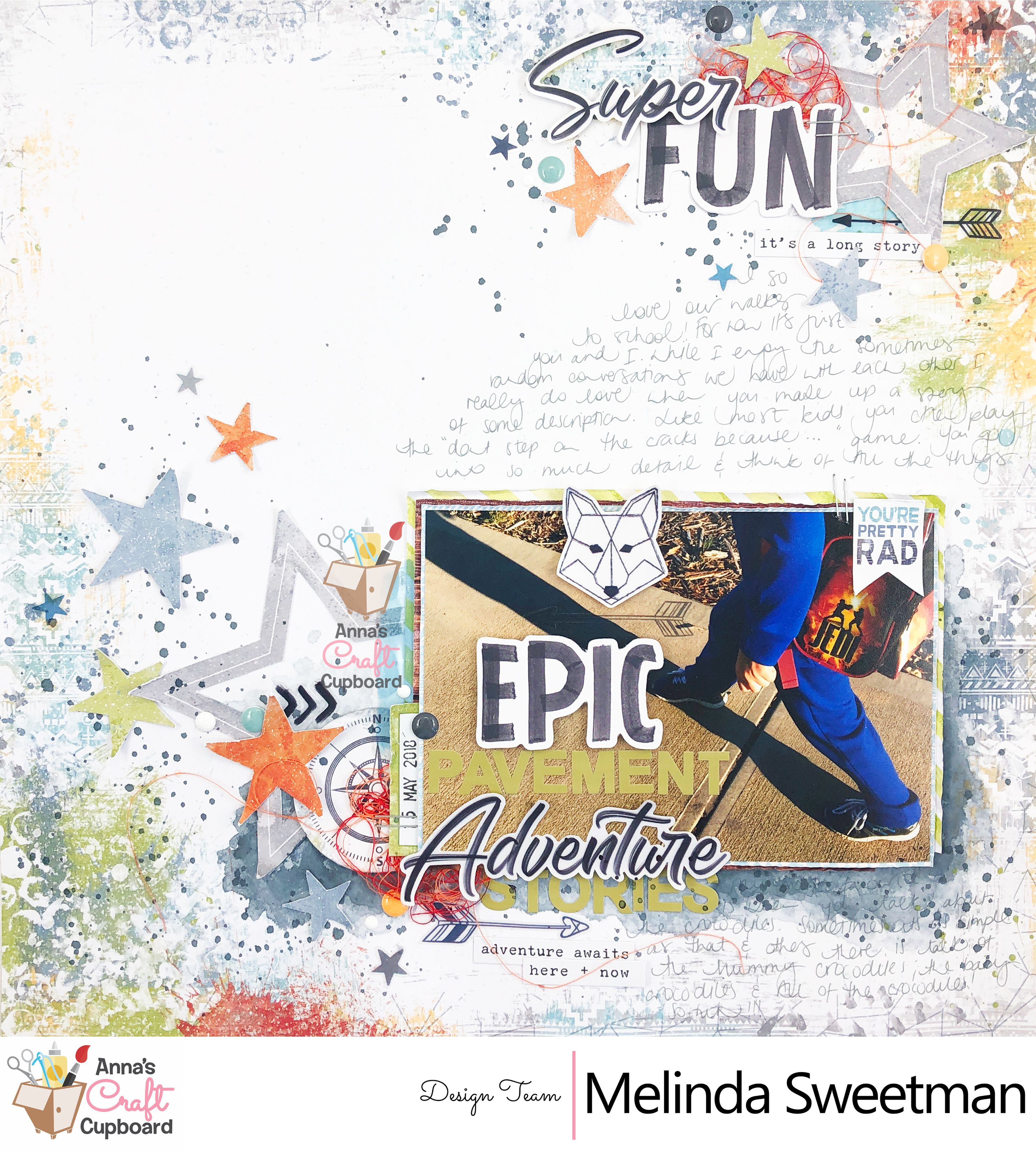 A mixed media 12x12 boys scrapbook layout created for Anna's Craft Cupboard featuring the Legendary collection by Cocoa Vanilla Studio.