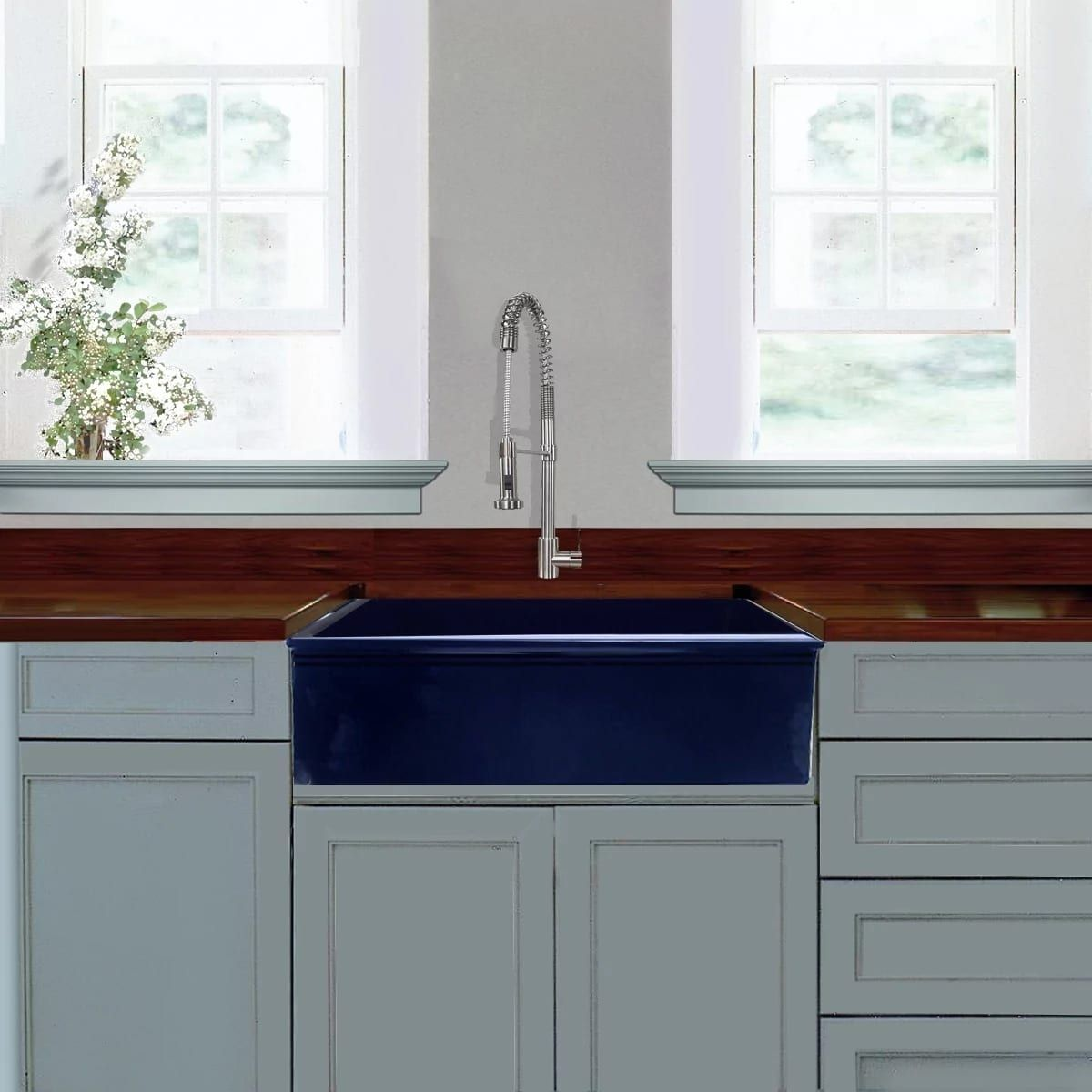 Image Result For Cobalt Blue Farm Sink Blue Kitchen Cabinets Fireclay Farmhouse Sink Farmhouse Sink