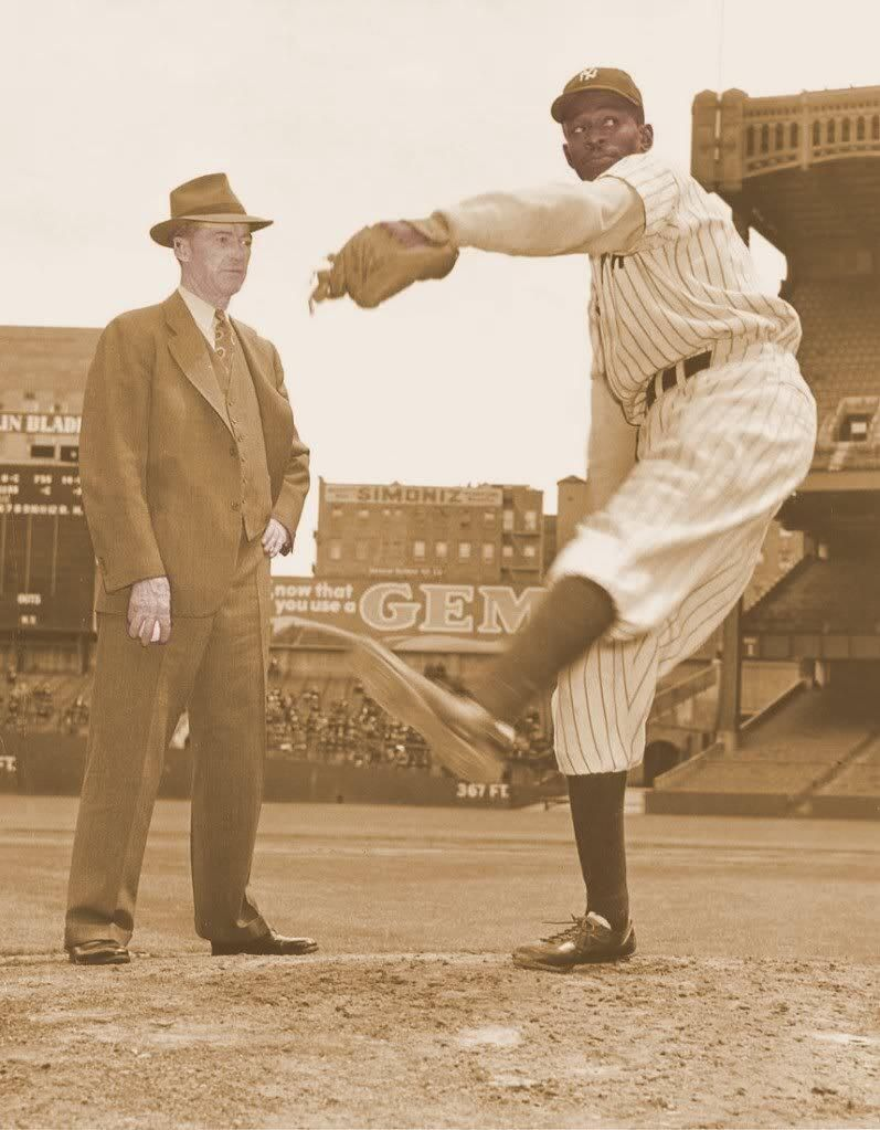 Satchel Paige pitching for the NY Black Yankees in Yankee Stadium, 1941.