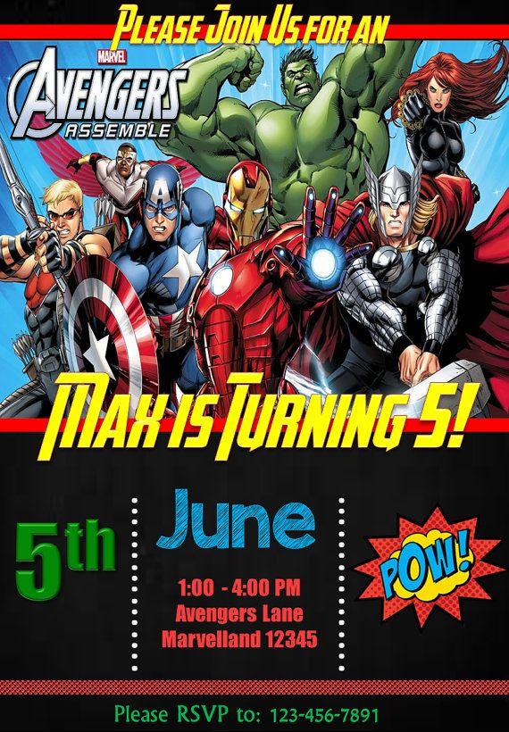 Avengers Birthday Invitation En 2019 Cumpleaños Avengers