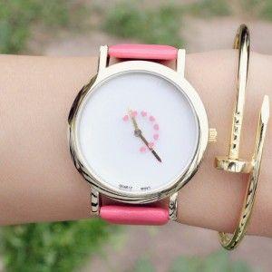 Montre coeur rose cuir