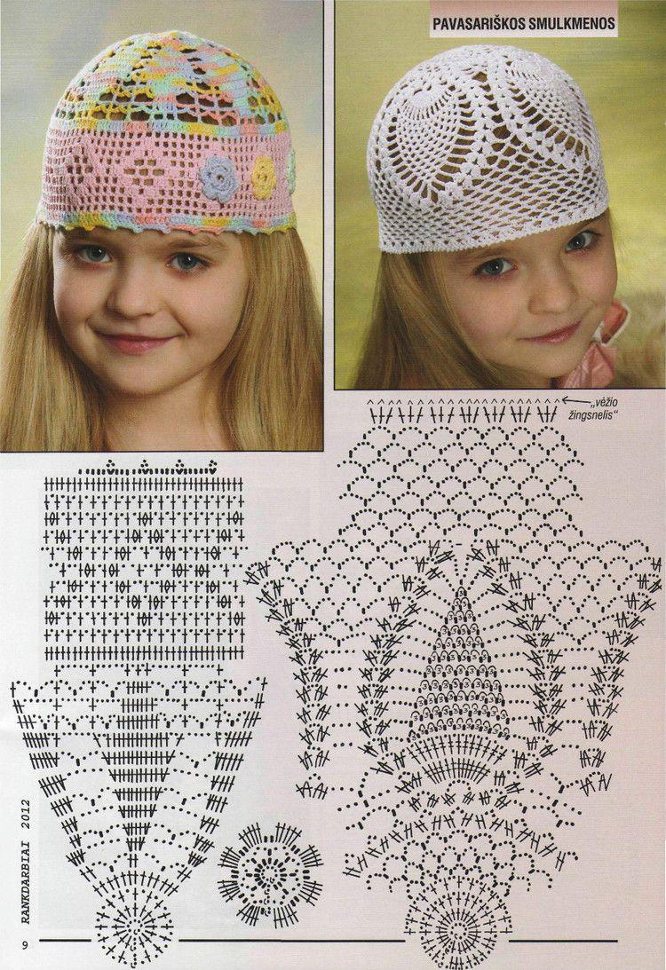 Летняя шапочка для девочки крючком — подборка схем и идей ...