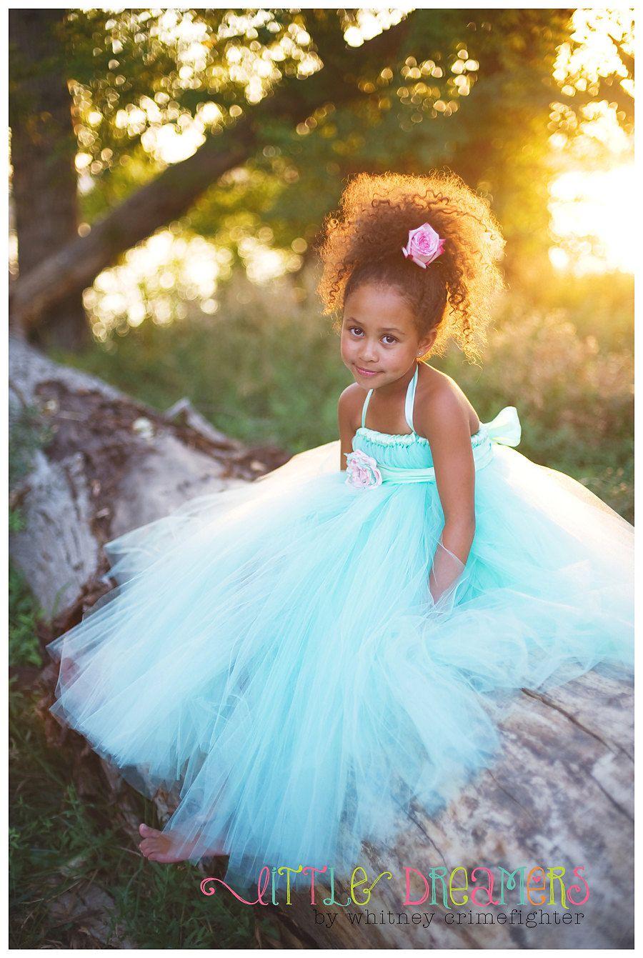 Mint Flower Girl Tutu Dress with Handmade Flower Sash- | Damitas y ...