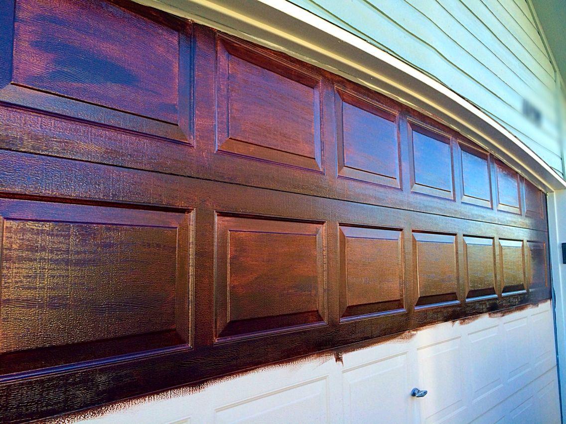 Gel stain applied to metal garage door to look like wood ...
