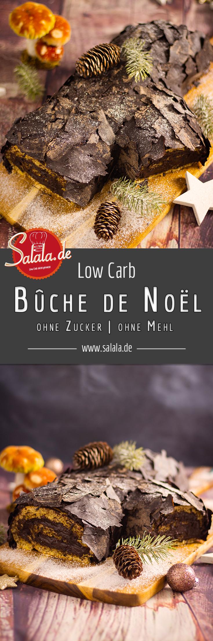 Bûche de Noël - Weihnachtsbäckerei ohne Zucker | salala.de – Low Carb leicht gemacht