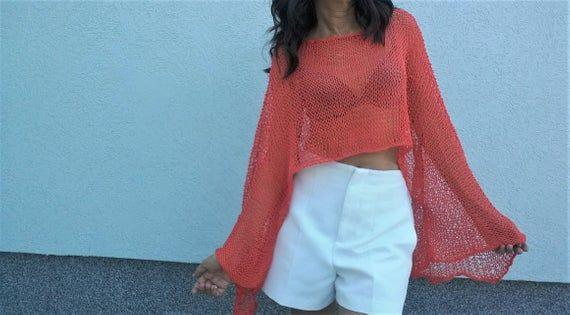 Cropped sweater, Shrug sweater, Summer sweater, Beach coverup sweater, Boho sweater, Knit shrug, Neon orange, Boho chic sweater #shrugsweater