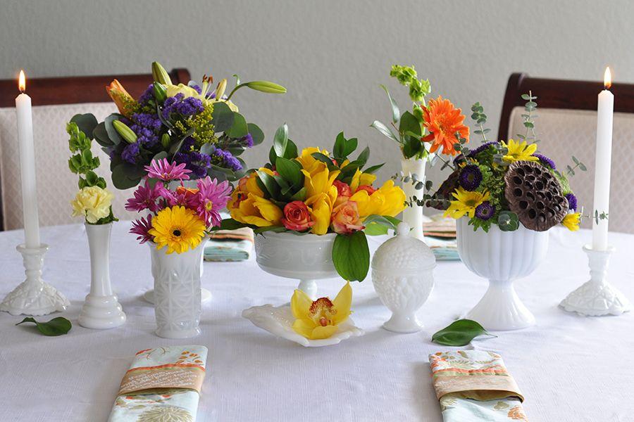 White, Bright Flowers, Wedding, Decor, Table, Milk Glass