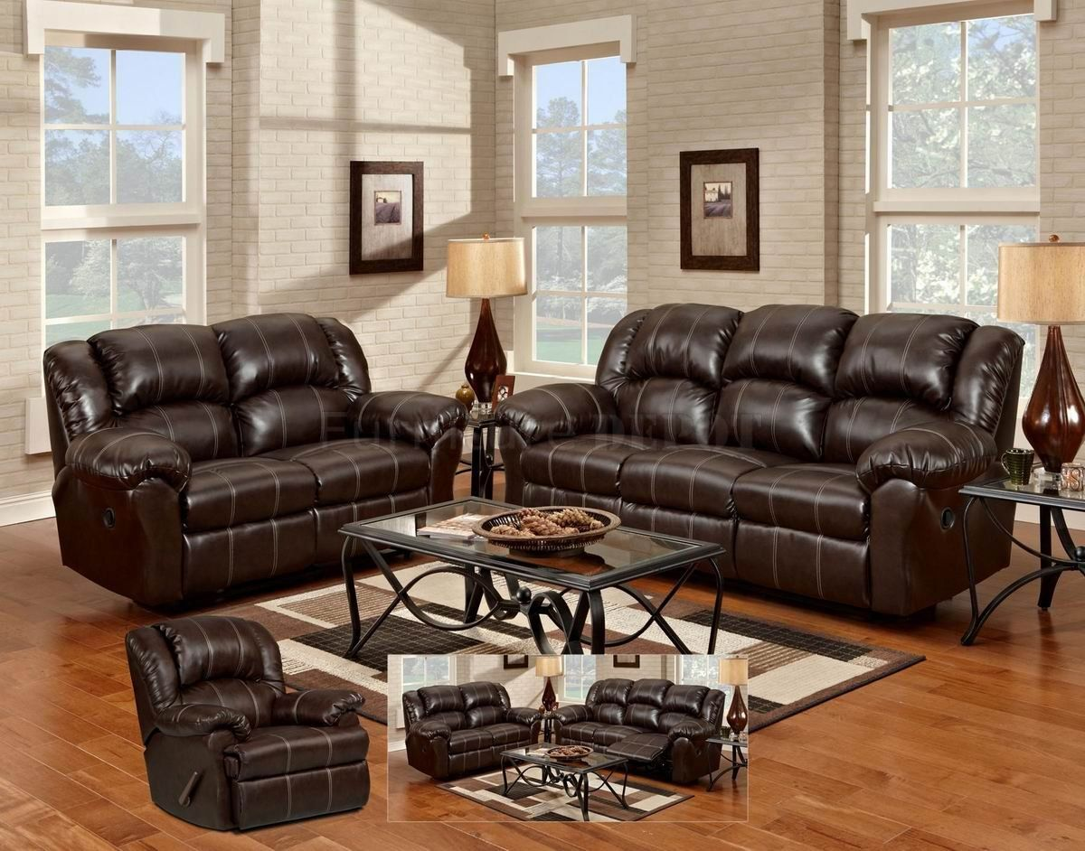 2PC Brown Leather Gel Reclining Sofa U0026 Loveseat Set AS ADVERTISED |  Reclining Sofa And House