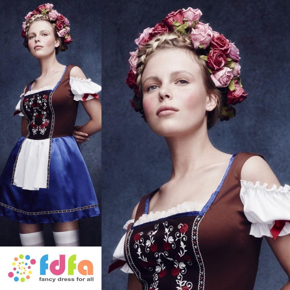 Ladies Oktoberfest Fancy Dress Costume German Womens Octoberfest Beer UK 4-18