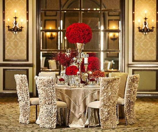 White Luxury Wedding Decor With Wonderful And Beautiful: Champagne And Red? Oh Yes!! How Posh And Grand Is This Set