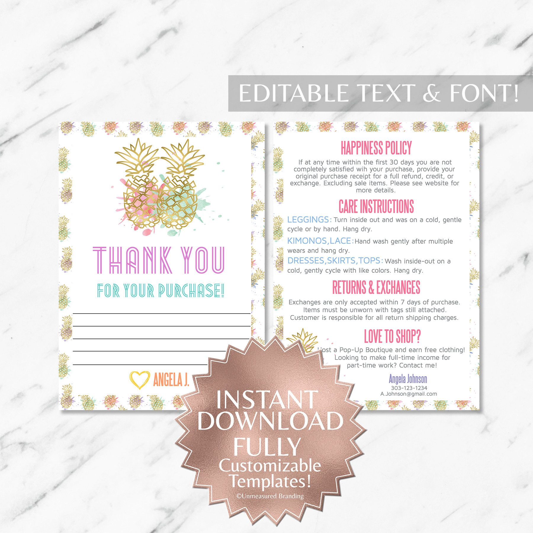 Instant Customizable Gold Pineapple Watercolor Fashion Consultant And Llr Thank You And Care Instruction Cards Templates Branding Materials Templates Watercolor Fashion