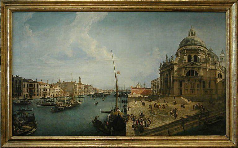 Michele MARIESCHI Venise, 1710 - Venise, 1743  L'Entrée du Grand Canal et l'église de la Salute à Venise  Vers 1735 - 1740  H. : 1,26 m. ; L. : 2,12 m.  A été longtemps attribué à Canaletto (1697 - 1768), dont Marieschi aurait été l'élève. L'église de la Salute fut édifiée à partir de 1631 par l'architecte Baldassare Longhena, en accomplissement d'un voeu du Sénat de Venise pour la fin de la peste qui avait ravagé Venise en 1630.