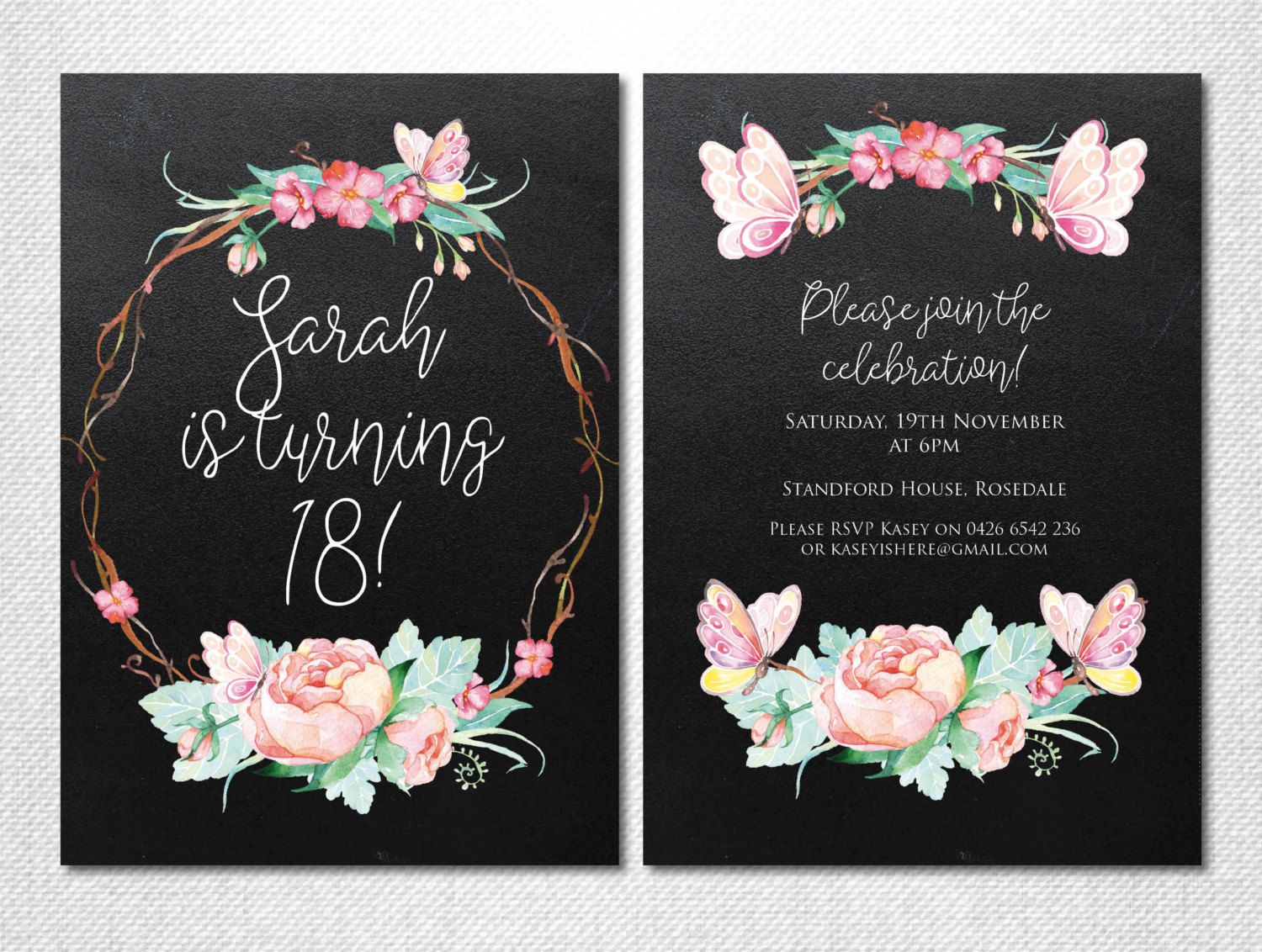 Floral Invitation 18th Birthday Party Butterfly Invitation – Invitation for 18th Birthday