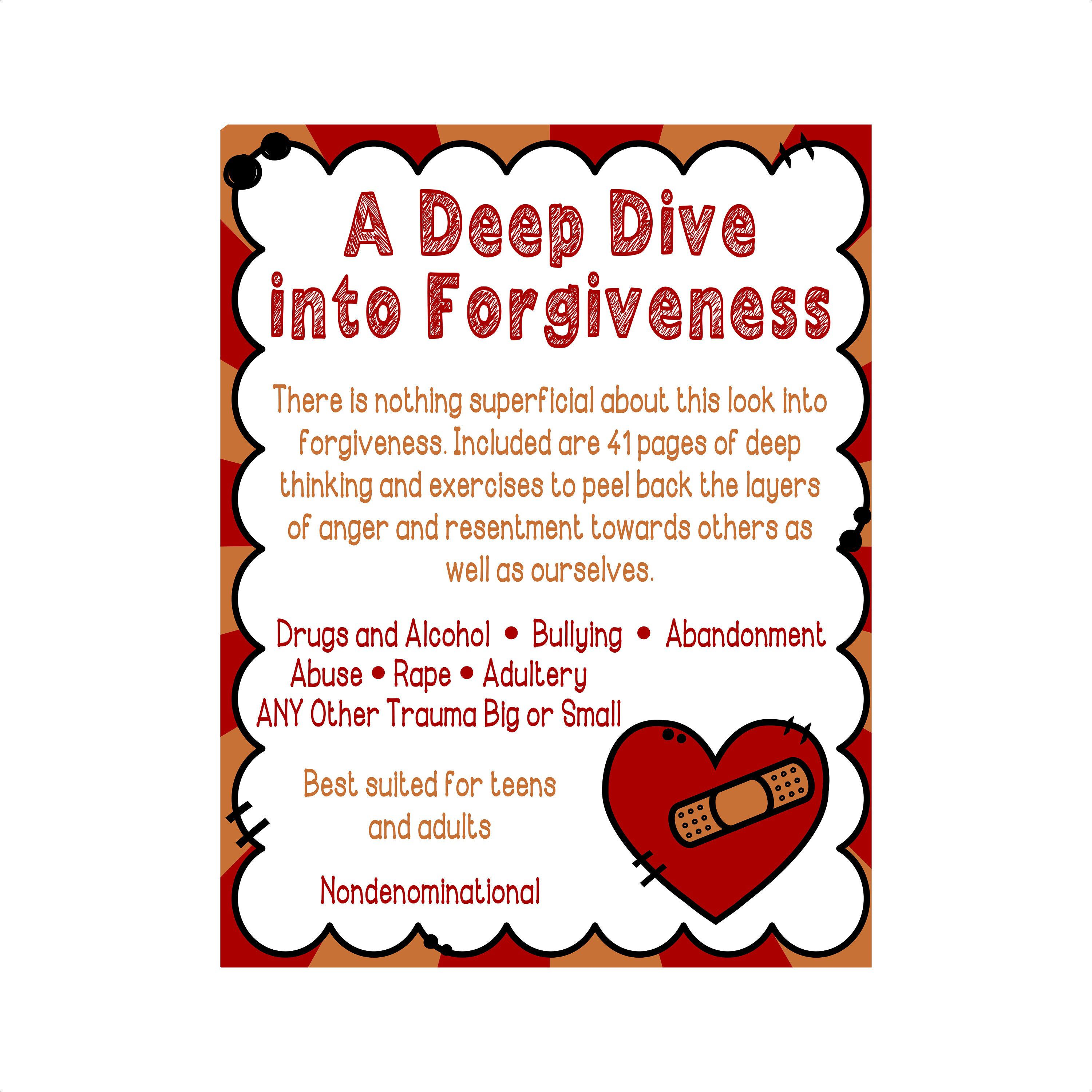 A Deep Dive Into Forgiveness Downloadable Worksheets