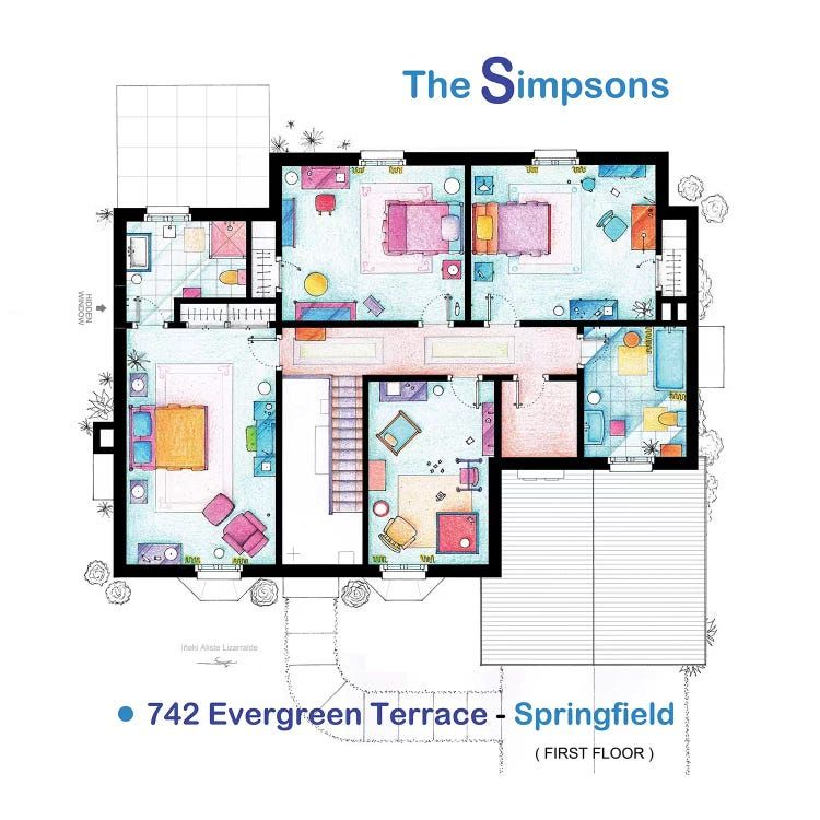 House From The Simpsons Upper Floor C Tv Floorplans More Icanvas In 2021 House Floor Plans House Flooring Floor Plans