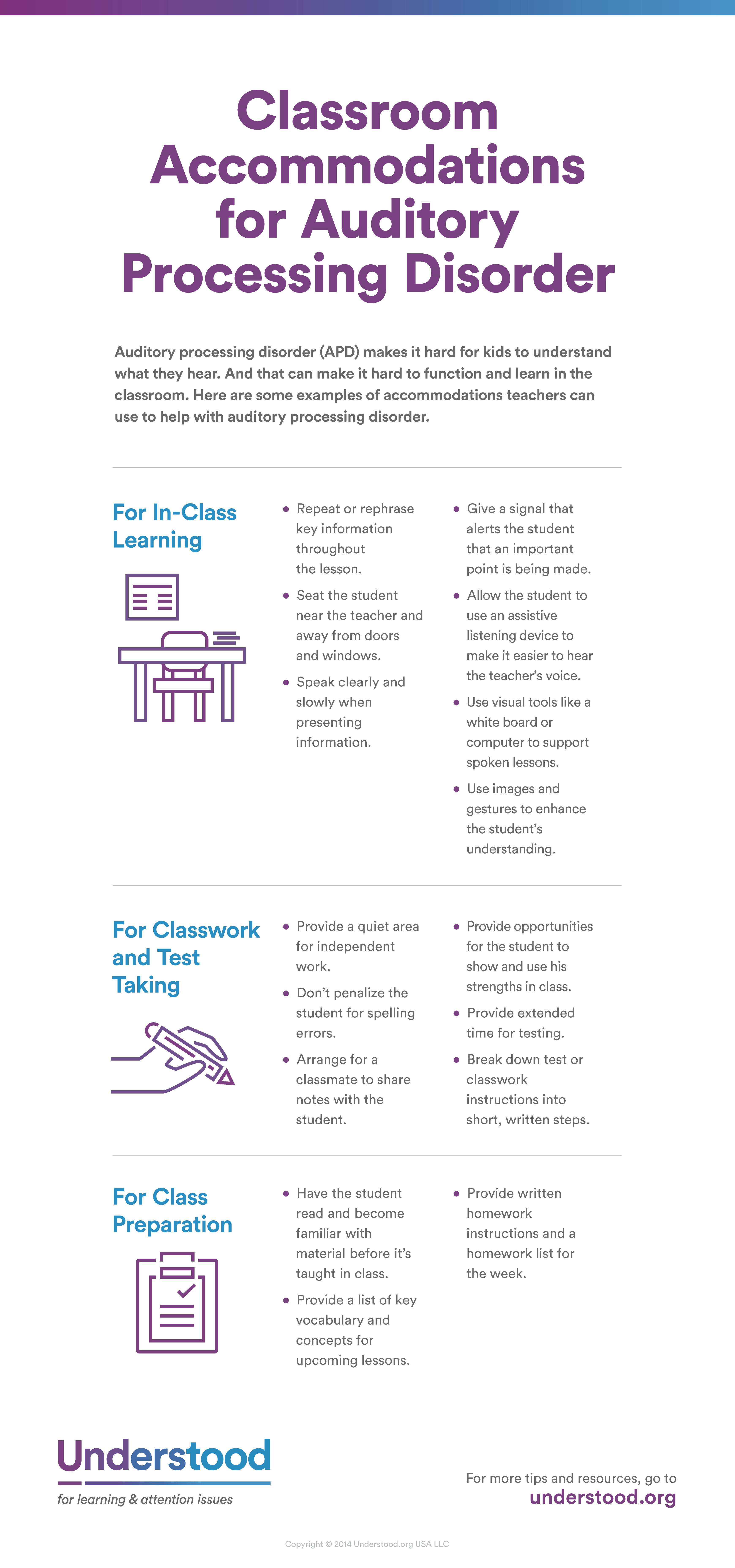 At A Glance Classroom Accommodations For Auditory